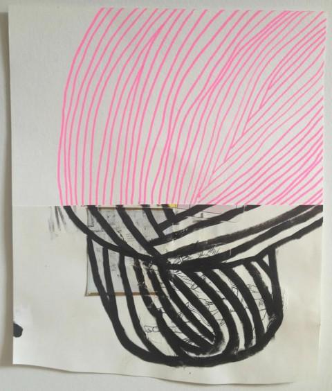 Pink Cowboy Bun  $150 Mixed media on paper, 16″x14″, 2013