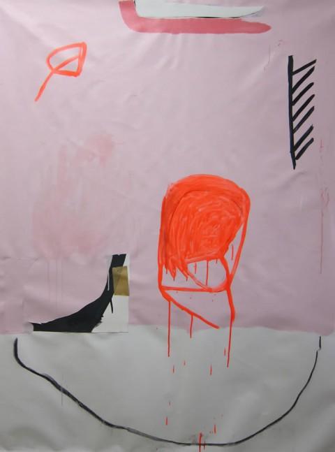 PINK+ORANGE #2  $950 Mixed media on canvas, 40″x55″, 2013