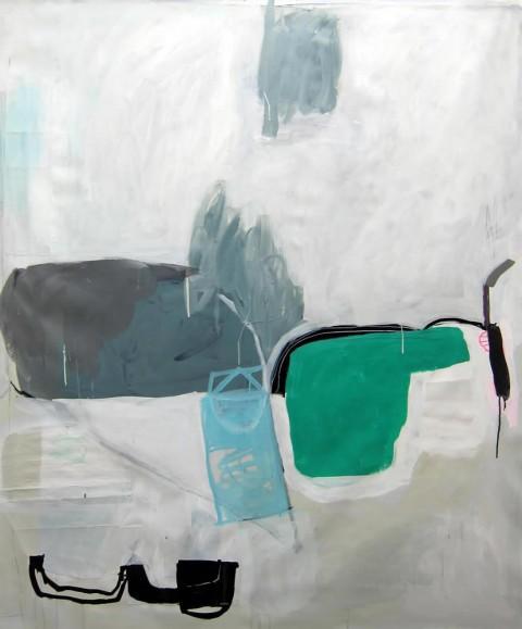 Green Hatchet  $1,250 Mixed media on canvas, 50″x50″, 2013
