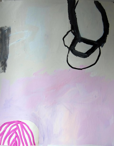 Pink Plaited Bun  $325 Mixed media on paper, 28″x38″, 2013