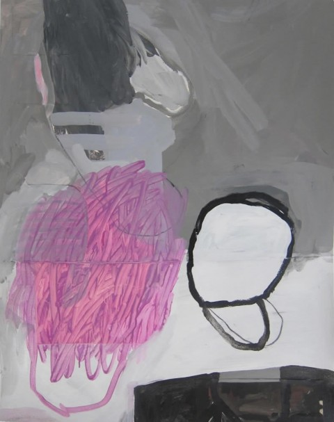 Brushy Pink + Black Bun  $325 Mixed media on paper and vinyl, 27″x34″, 2014