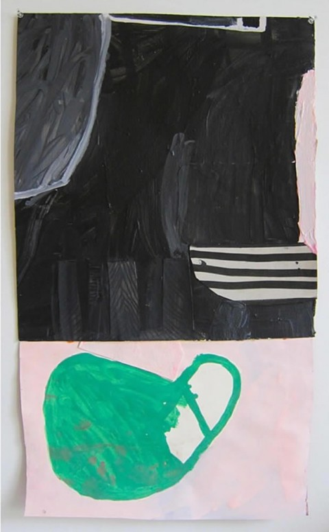 Green Bun on Pink  $325 Mixed media on paper, 18″x29″, 2014