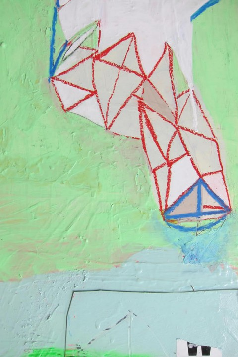 Blue Sailboat, Red Net  $225 Mixed media on panel, 11″x14″, 2012