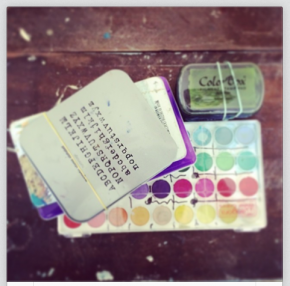 my trusty watercolors, ink boxes and letter stamps