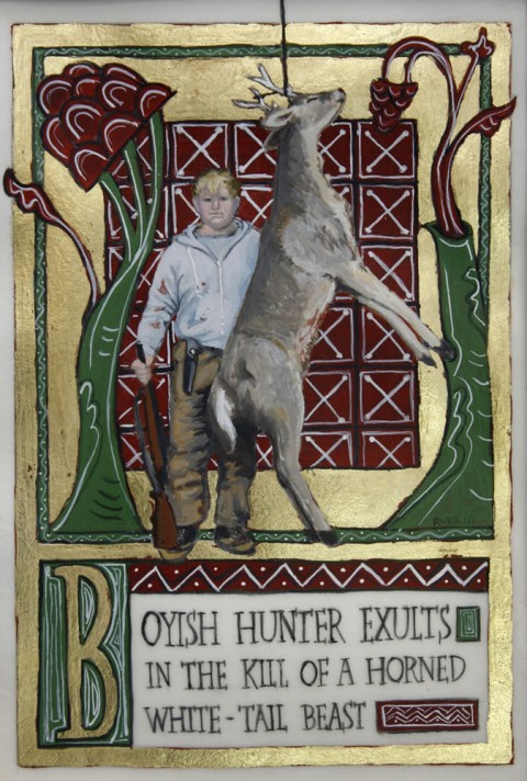 Boyish Hunter Exults In The Kill Of A Horned White-Tail Beast.