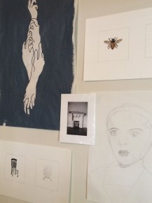 A view of Chamber's studio wall.